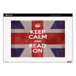 """Keep Calm and Read On Union Jack Skin For 15"""" Laptop"""