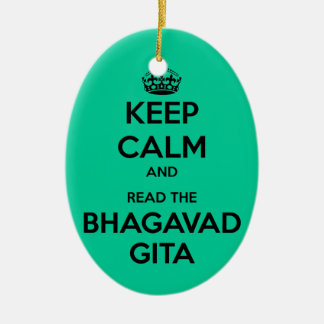 Keep Calm and Read the Bhagavad Gita Double-Sided Oval Ceramic Christmas Ornament