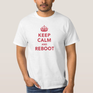 Keep Calm and Reboot Funny Red and White T Shirt