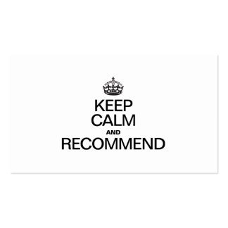 KEEP CALM AND RECOMMEND Double-Sided STANDARD BUSINESS CARDS (Pack OF 100)