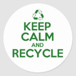 KEEP CALM AND RECYCLE CLASSIC ROUND STICKER