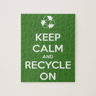 Keep Calm and Recycle On Green Jigsaw Puzzle