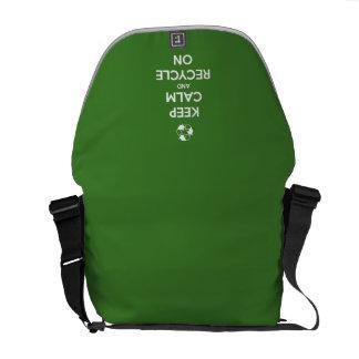 Keep Calm and Recycle On Green Messenger Bag