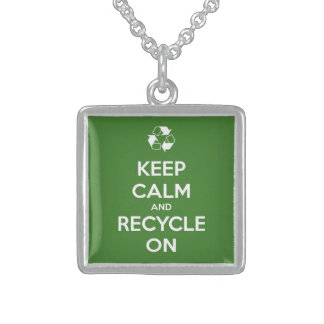 Keep Calm and Recycle On Green Square Pendant Necklace