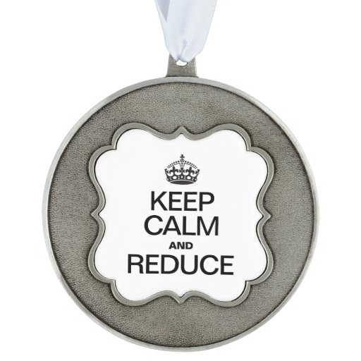 KEEP CALM AND REDUCE SCALLOPED ORNAMENT