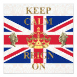 "Keep calm and reign on royal jubilee 5.25"" square invitation card"