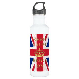 Keep calm and reign on stainless steel water bottle
