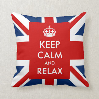 Keep Calm and Relax British UK Flag Union Jack Throw Pillow