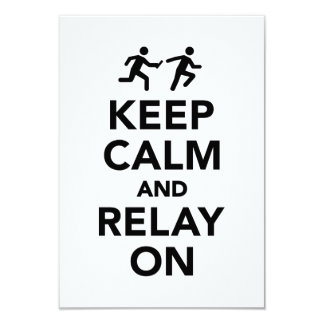Keep calm and relay on 3.5x5 paper invitation card