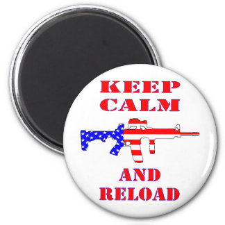 Keep Calm And Reload American Flag Rifle Magnet
