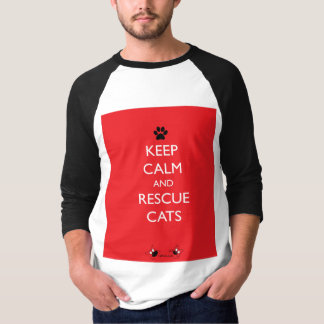 Keep Calm and Rescue Cats Black Paw T-Shirt