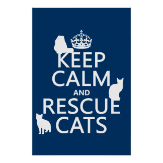 Keep Calm and Rescue Cats (in any color) Poster