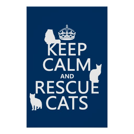Keep Calm and Rescue Cats (in any color) Posters