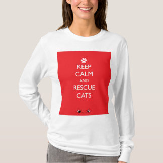 Keep Calm and Rescue Cats White Paw T-Shirt