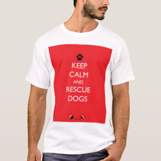Keep Calm and Rescue Dogs Black Paw T-Shirt