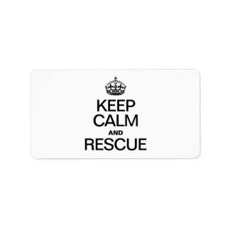 KEEP CALM AND RESCUE PERSONALIZED ADDRESS LABELS