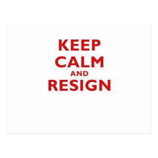 Keep Calm and Resign Postcard