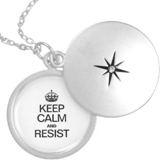 KEEP CALM AND RESIST ROUND LOCKET NECKLACE