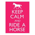 Keep Calm And Ride A Horse Postcard
