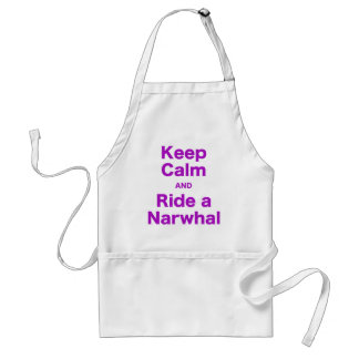 Keep Calm and Ride a Narwhal Adult Apron
