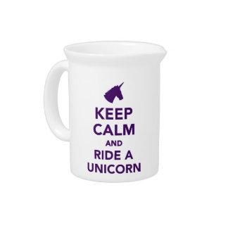 Keep calm and ride a unicorn pitchers