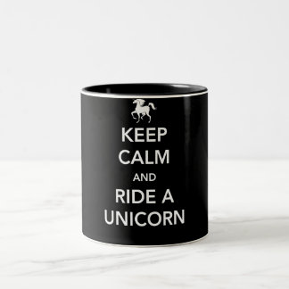 Keep Calm and Ride a Unicorn Two-Tone Coffee Mug
