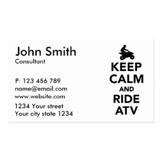 Keep calm and ride ATV Business Card