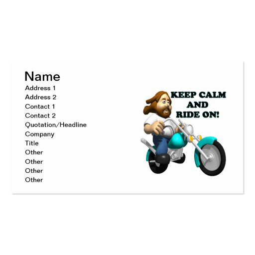 Keep Calm And Ride On 2 Business Cards