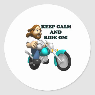 Keep Calm And Ride On 2 Classic Round Sticker
