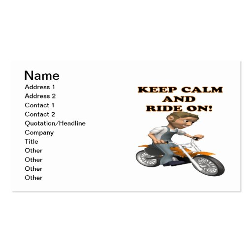 Keep Calm And Ride On 3 Business Card Templates