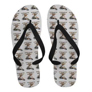 Keep Calm And Ride On 3 Flip Flops