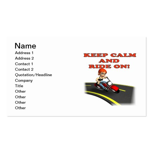 Keep Calm And Ride On 4 Business Card Template