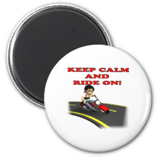 Keep Calm And Ride On 5 2 Inch Round Magnet