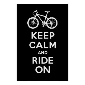 Keep Calm and Ride On - bicycle print - black
