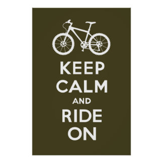 Keep Calm and Ride On - bicycle print - brown