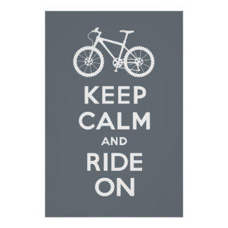 Keep Calm and Ride On - bicycle print - grey