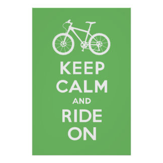 Keep Calm and Ride On - bicycle print - lt green