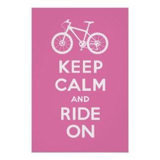 Keep Calm and Ride On - bicycle print - pink