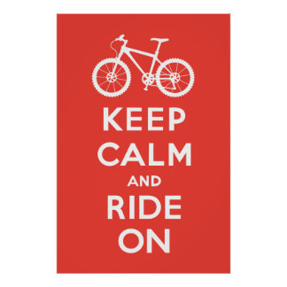Keep Calm and Ride On - bicycle print - red