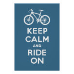 Keep Calm and Ride On - bicycle print - slate