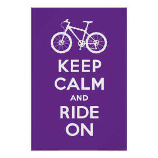 Keep Calm and Ride On - bicycle print - violet