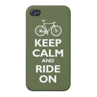 Keep Calm and Ride On (bike) - olive iPhone 4 Case