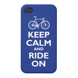 Keep Calm and Ride On (bike) - reflex blue iPhone 4 Case
