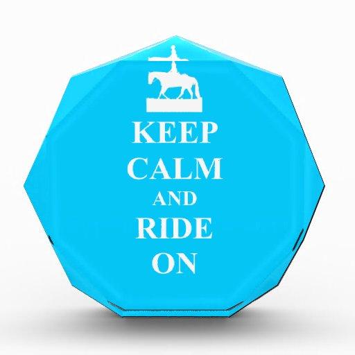 Keep calm and ride on (blue) acrylic award