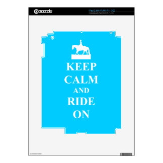 Keep calm and ride on (blue) decal for iPad 2