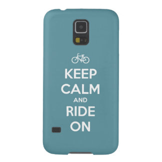 Keep Calm and Ride On Blue Galaxy S5 Case