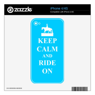 Keep calm and ride on (blue) iPhone 4S decals