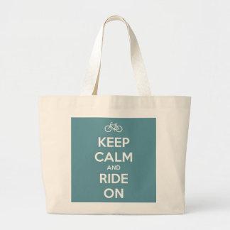 Keep Calm and Ride On Blue Jumbo Tote Bag