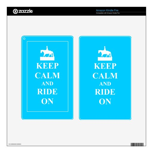 Keep calm and ride on (blue) kindle fire decal