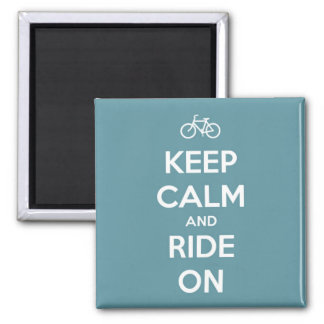 Keep Calm and Ride On Blue Magnet